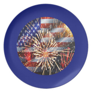 USA Flag and Fireworks Melamine Plate