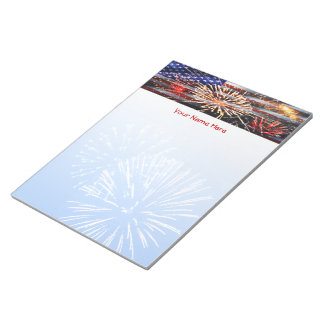 USA Flag and Fireworks Memo Notepad