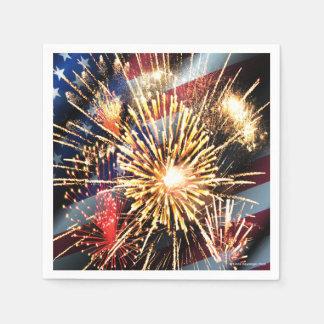 USA Flag and Fireworks Napkin