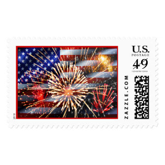 USA Flag and Fireworks Postage