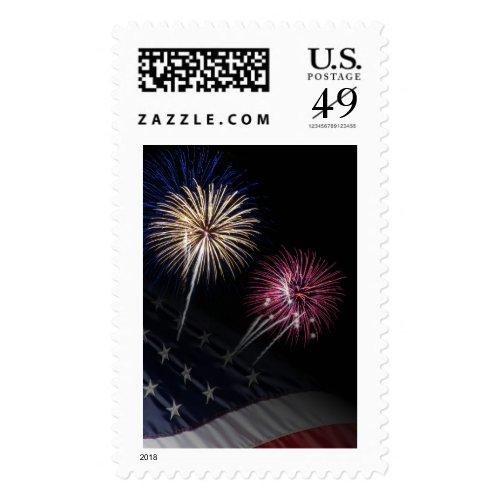 USA Flag and Fireworks Postage Stamp