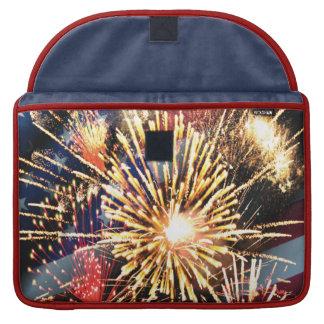 USA Flag and Fireworks Sleeve For MacBooks
