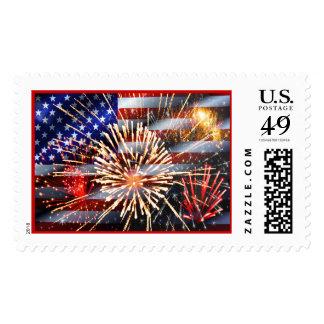 USA Flag and Fireworks Stamp
