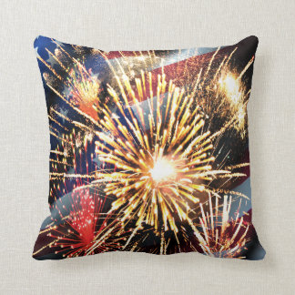 USA Flag and Fireworks Throw Pillow