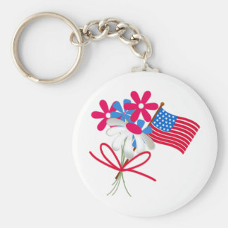 USA FLag and Flowers Key Chains