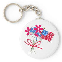 USA FLag and Flowers Keychain