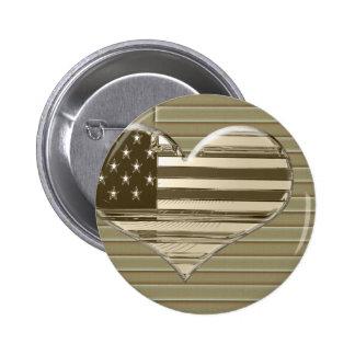 USA Flag and Heart Design Button