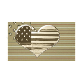USA Flag and Heart Design Canvas Print