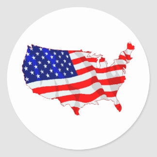 USA Flag and Map Classic Round Sticker