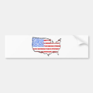USA Flag and Map Word Cloud Bumper Sticker