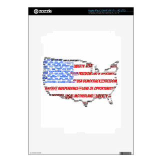 USA Flag and Map Word Cloud Decals For iPad 3
