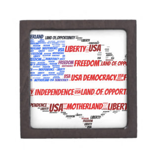 USA Flag and Map Word Cloud Jewelry Box