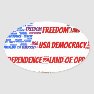 USA Flag and Map Word Cloud Oval Sticker