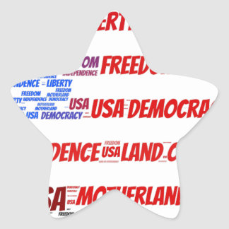 USA Flag and Map Word Cloud Star Sticker