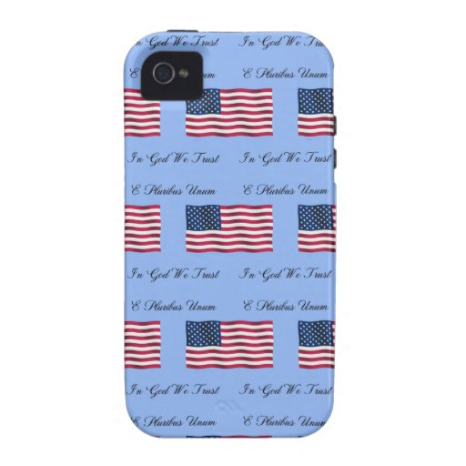 USA Flag and Motto Vibe iPhone 4 Cases