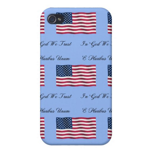 USA Flag and Motto iPhone 4 Case