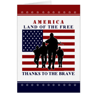 USA Flag and Soldiers- Happy Independence Day Card