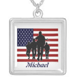 USA Flag and Soldiers Personalized Necklace
