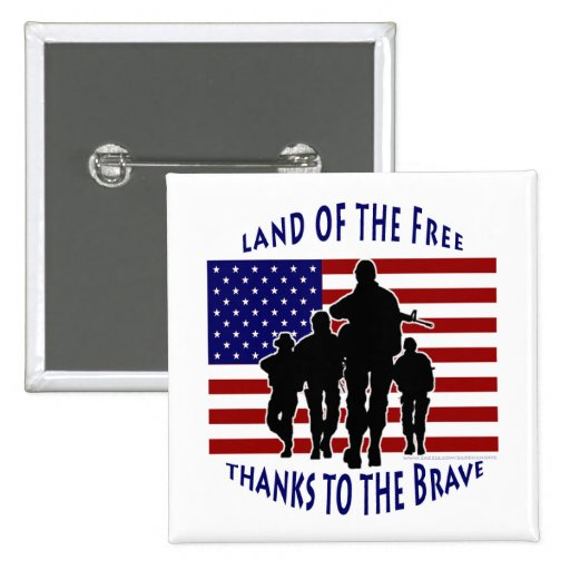 USA Flag and Soldiers Silhouette Button