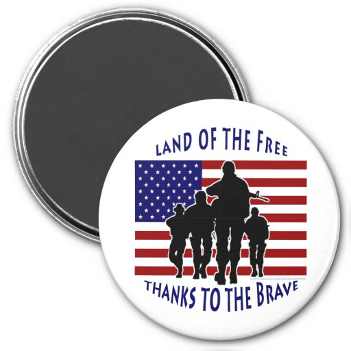 USA Flag and Soldiers Silhouette Magnet