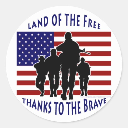 USA Flag and Soldiers Silhouette Sticker