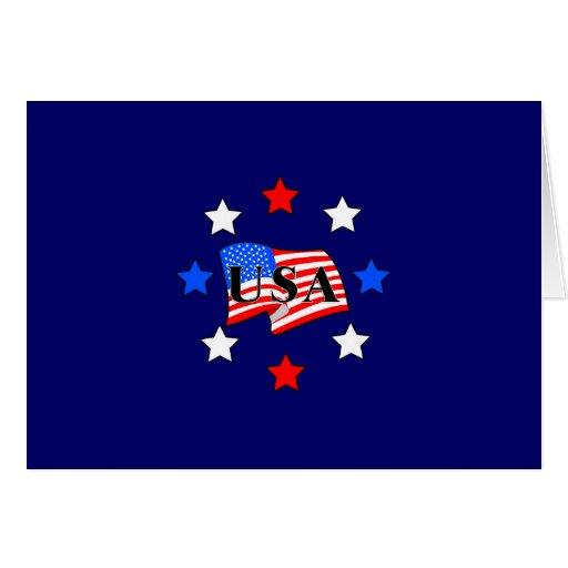 USA Flag and Stars Card