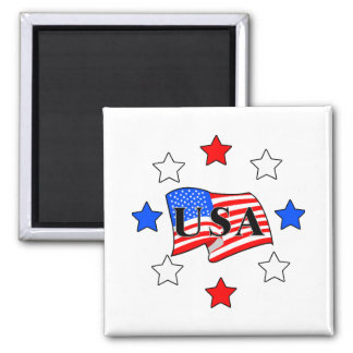 USA Flag and Stars 2 Inch Square Magnet