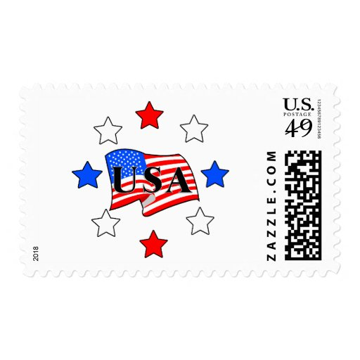 USA Flag and Stars Postage Stamps