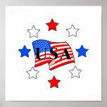 USA Flag and Stars Poster