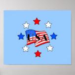 USA Flag and Stars Print