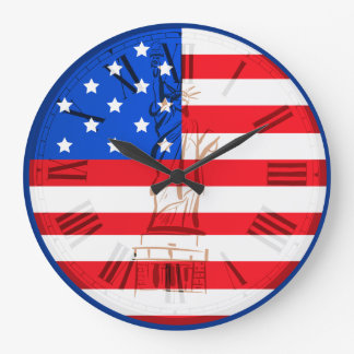 USA Flag And Statue Of Liberty Numeral Roman Large Clock