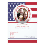 USA Flag Baseball Party 4.5x6.25 Paper Invitation Card