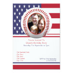 USA Flag Baseball Party Personalized Announcement