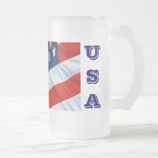 USA Flag Beer Stein 16 Oz Frosted Glass Beer Mug