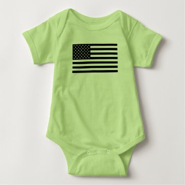 USA Themed USA Flag - Black and White Stencil Baby Bodysuit