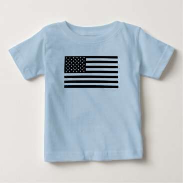 USA Themed USA Flag - Black and White Stencil Baby T-Shirt