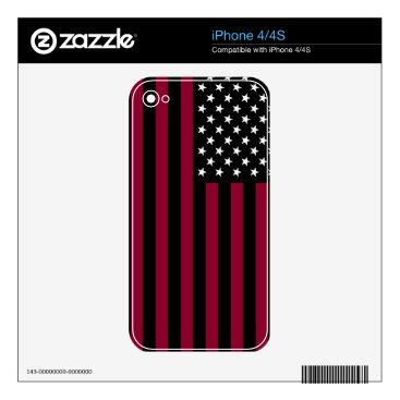 USA Themed USA Flag - Black and White Stencil Decals For iPhone 4S