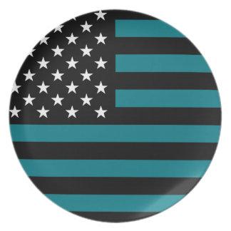 USA Flag - Black and White Stencil Dinner Plate