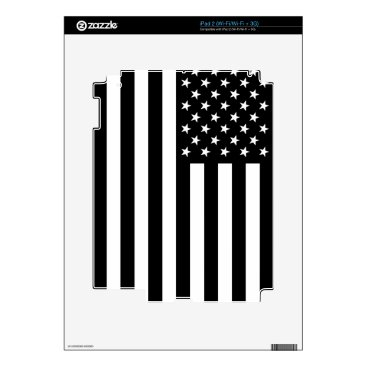 USA Themed USA Flag - Black and White Stencil iPad 2 Skins