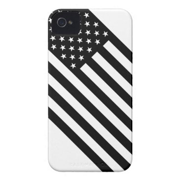 USA Themed USA Flag - Black and White Stencil iPhone 4 Case-Mate Case