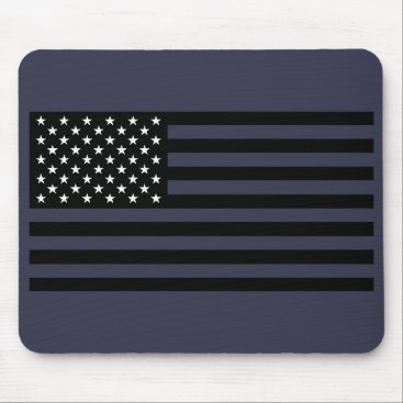 USA Themed USA Flag - Black and White Stencil Mouse Pad