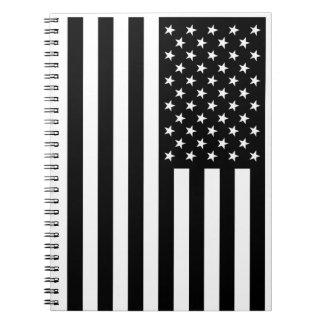 USA Flag - Black and White Stencil Notebook
