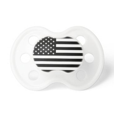 USA Themed USA Flag - Black and White Stencil Pacifier