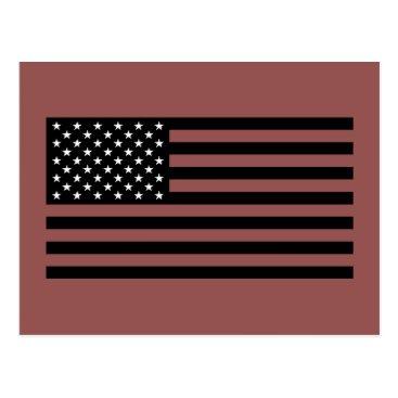 USA Themed USA Flag - Black and White Stencil Postcard