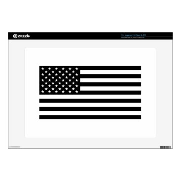 "USA Themed USA Flag - Black and White Stencil Skin For 15"" Laptop"
