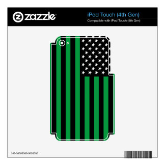 USA Flag - Black and White Stencil Skin For iPod Touch 4G