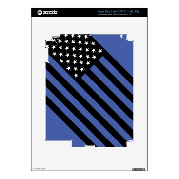 USA Themed USA Flag - Black and White Stencil Skins For iPad 3