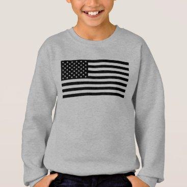USA Themed USA Flag - Black and White Stencil Sweatshirt