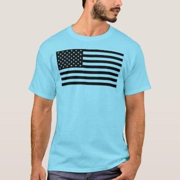 USA Themed USA Flag - Black and White Stencil T-Shirt