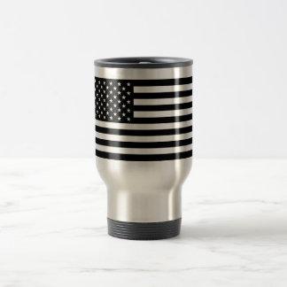 USA Flag - Black and White Stencil Travel Mug